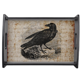 Vintage Raven Silhouette Retro Goth Ravens Birds Food Tray