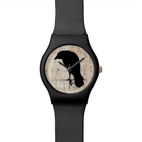 Vintage Raven Silhouette Retro Goth Ravens Birds Wrist Watch