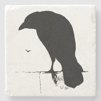 Vintage Raven Silhouette Retro Goth Ravens Crow Stone Beverage Coaster