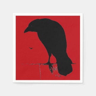 Vintage Raven Silhouette Retro Goth Red Ravens Napkin