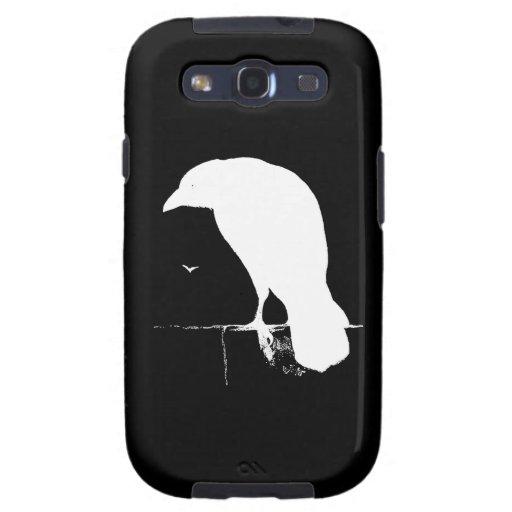 Vintage Raven Silhouette White on Black - Custom Samsung Galaxy SIII Covers