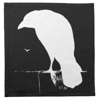 Vintage Raven Silhouette White on Black - Custom Napkin