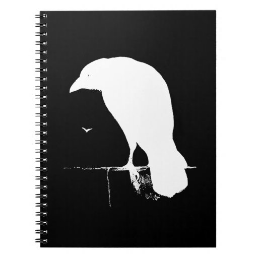 Vintage Raven Silhouette White on Black - Custom Note Books