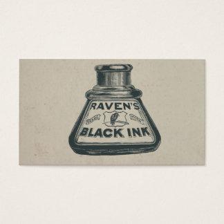 Vintage Ravens Black Ink Container Business Card