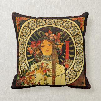 "Vintage Re-Worked ""Alphonse Mucha"" Pillow"