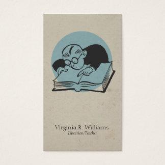 Vintage Read Books Illustration Pink Retro Circle Business Card