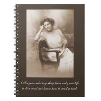 Vintage Reader Photography & Quote Spiral Notebook