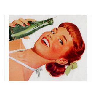 Vintage Readhead With Soda Pop Postcard
