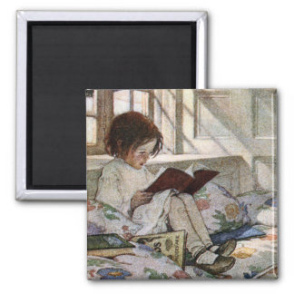 Vintage Reading Girl 2 Inch Square Magnet