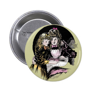 Vintage Reading - Mom and daughter 2 Inch Round Button