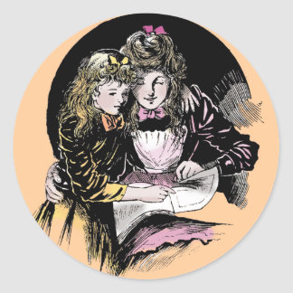 Vintage Reading - Mom and daughter Classic Round Sticker