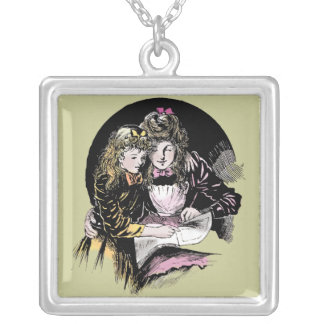 Vintage Reading - Mom and daughter Silver Plated Necklace