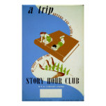 Vintage Reading Story Hour Book Club WPA Poster
