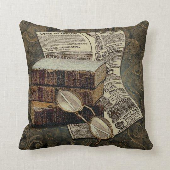 Vintage Reading Throw Pillow