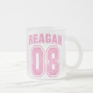 Vintage Reagan 08 Frosted Glass Coffee Mug