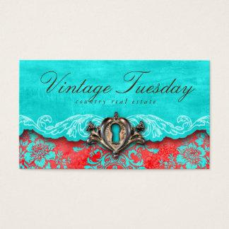 VINTAGE Real Estate Real Estate Agent Antique Lock Business Card