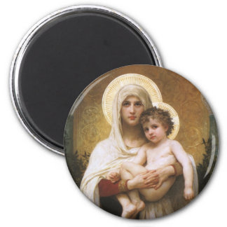 Vintage Realism, Madonna of the Roses, Bouguereau 2 Inch Round Magnet