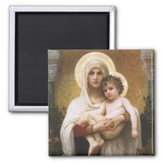 Vintage Realism, Madonna of the Roses, Bouguereau 2 Inch Square Magnet