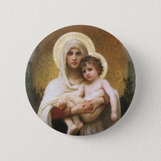 Vintage Realism, Madonna of the Roses, Bouguereau Button