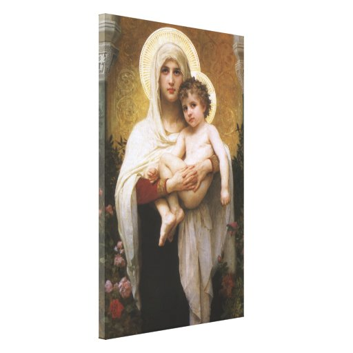 Vintage Realism, Madonna of the Roses, Bouguereau Canvas Print