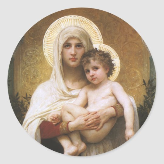 Vintage Realism, Madonna of the Roses, Bouguereau Classic Round Sticker