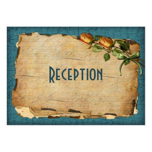 Vintage Reception Enclosure Card - Teal Business Card Templates