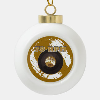 Vintage Record 78 RPM Record Ceramic Ball Christmas Ornament