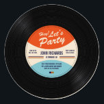"""Vintage Record Birthday Invite<br><div class=""""desc"""">Vintage inspired record vector design that can be customized with your text.</div>"""