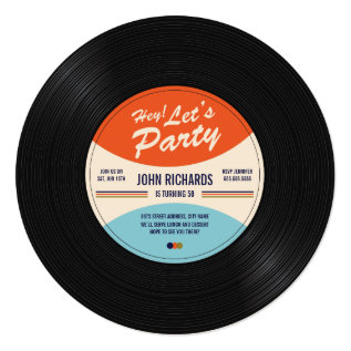Vintage Record Birthday Invite at Zazzle