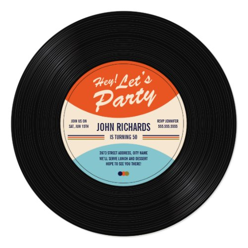 Vintage Record Birthday Invite