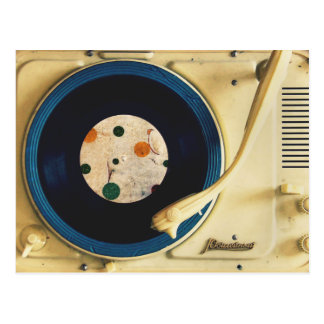 Vintage Record player Postcard