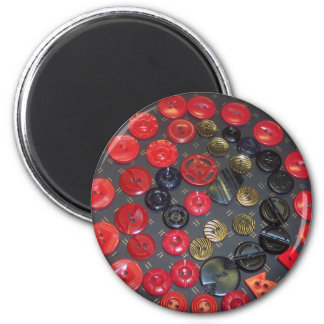 Vintage Red and Black Buttons 2 Inch Round Magnet
