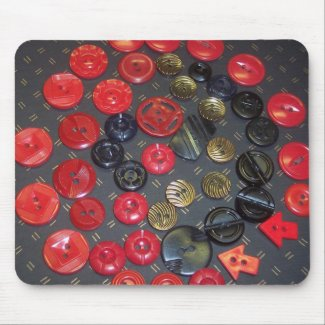 Vintage Red and Black Buttons mousepad