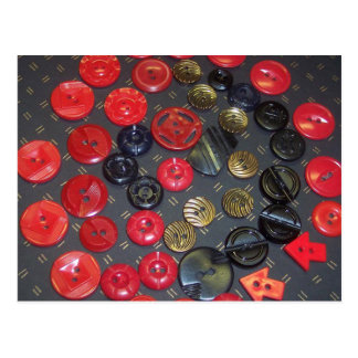 Vintage Red and Black Buttons Postcard