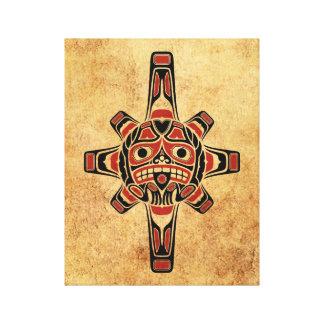 Vintage Red and Black Haida Sun Mask Canvas Print