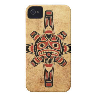 Vintage Red and Black Haida Sun Mask iPhone 4 Case-Mate Cases