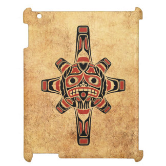 Vintage Red and Black Haida Sun Mask iPad Covers
