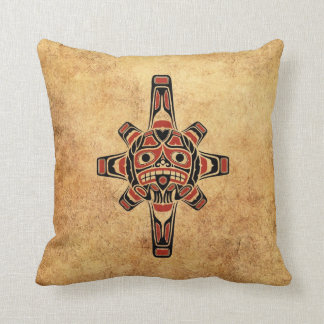 Vintage Red and Black Haida Sun Mask Pillow