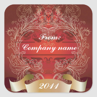 Vintage Red and Gold Corporate Holiday Greetings Square Sticker