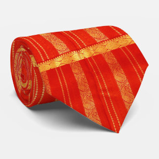 Vintage Red and Gold Indian Sari  Silk Tie** Tie