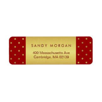 Vintage Red and Gold Polka Dots Label