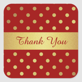 Vintage Red and Gold Polka Dots Striped Thank You Square Sticker