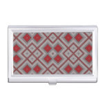 Vintage Red And Gray Geometric Abstract Pattern Business Card Case