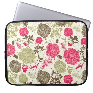 Professional Business Vintage Red and Green Flowers Laptop Sleeve