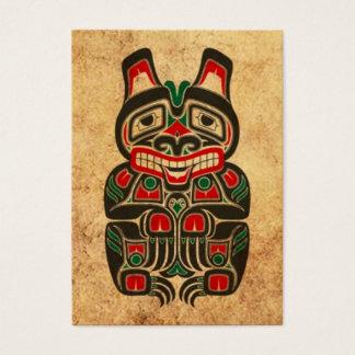 Vintage Red and Green Haida Spirit Bear Business Card