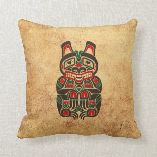 Vintage Red and Green Haida Spirit Bear Throw Pillow