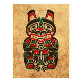 Vintage Red and Green Haida Spirit Bear Postcard