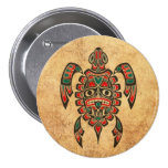 Vintage Red and Green Haida Spirit Sea Turtle Buttons
