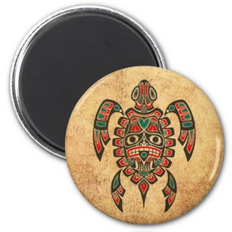 Vintage Red and Green Haida Spirit Sea Turtle 2 Inch Round Magnet