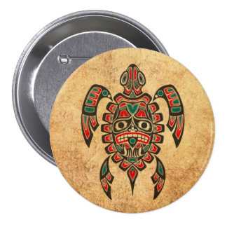 Vintage Red and Green Haida Spirit Sea Turtle Pinback Button